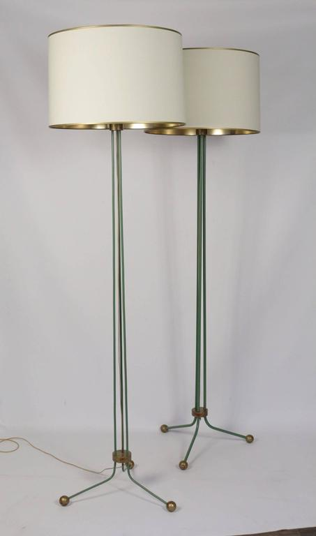 French Set of Two Elegant Lamp Floor 1940 Attributed to Jean Royere For Sale