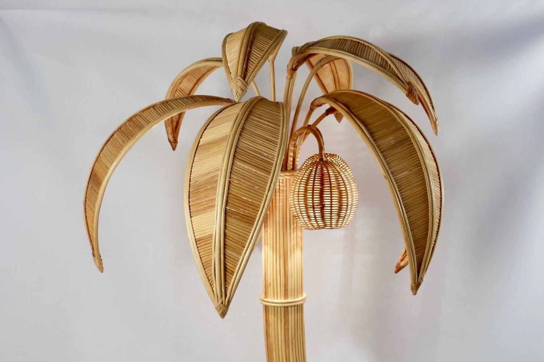 1970s Large Rattan Coconut Tree Floor Lamp At 1stdibs