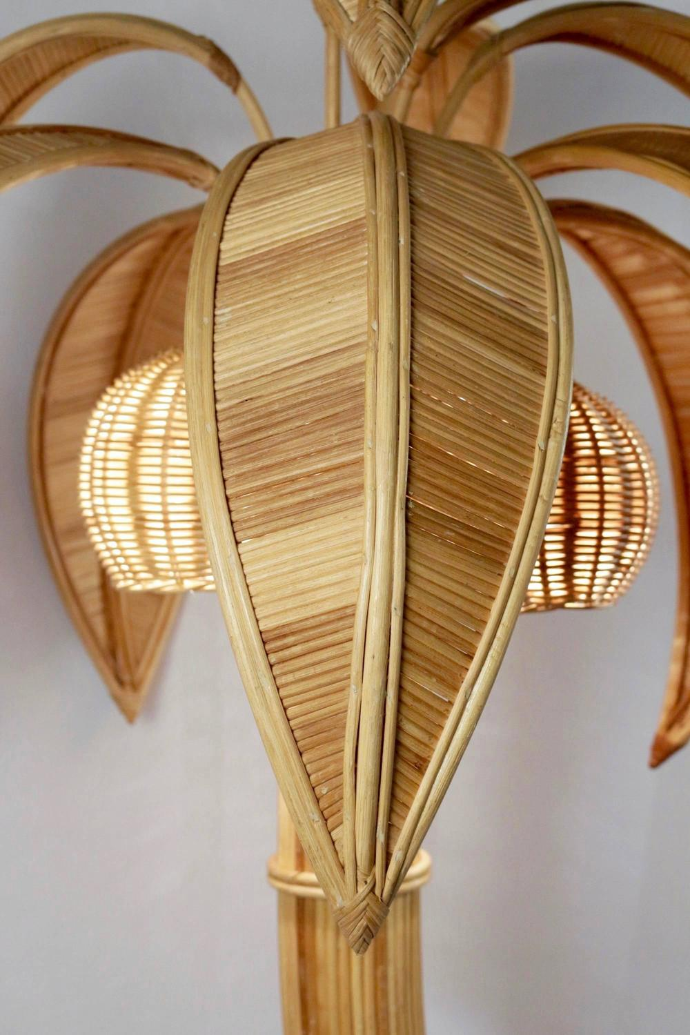 1970s Large Rattan Coconut Tree Floor Lamp At 1stdibs