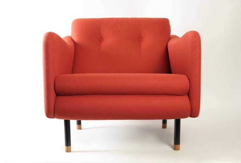 Lounge set with two armchairs and one sofa by Michel Mortier for Steiner, France, 1963.  This rare lounge set in perfect condition has been fully restored with a red wool fabric and all the foams have been changed to restore the original outlines.