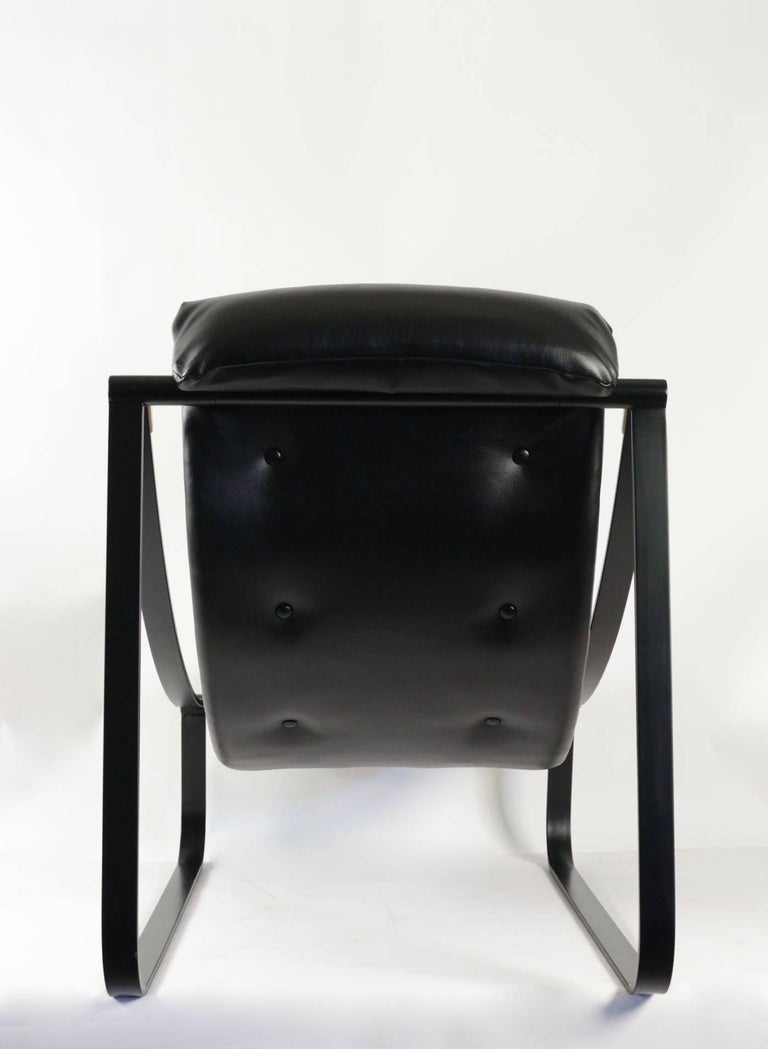 Lacquered 1970s Pair of Black Lounge Chairs For Sale