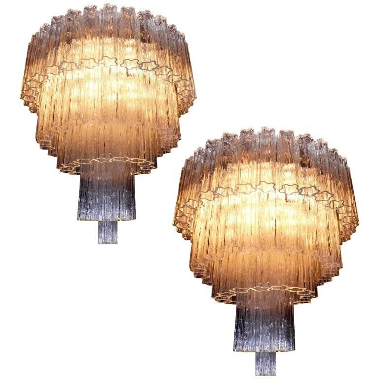 Pair of Italian Tronchi Chandeliers Murano, 1980