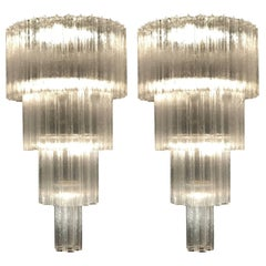 Monumental Pair of Italian Tronchi Chandeliers Murano, 1980s