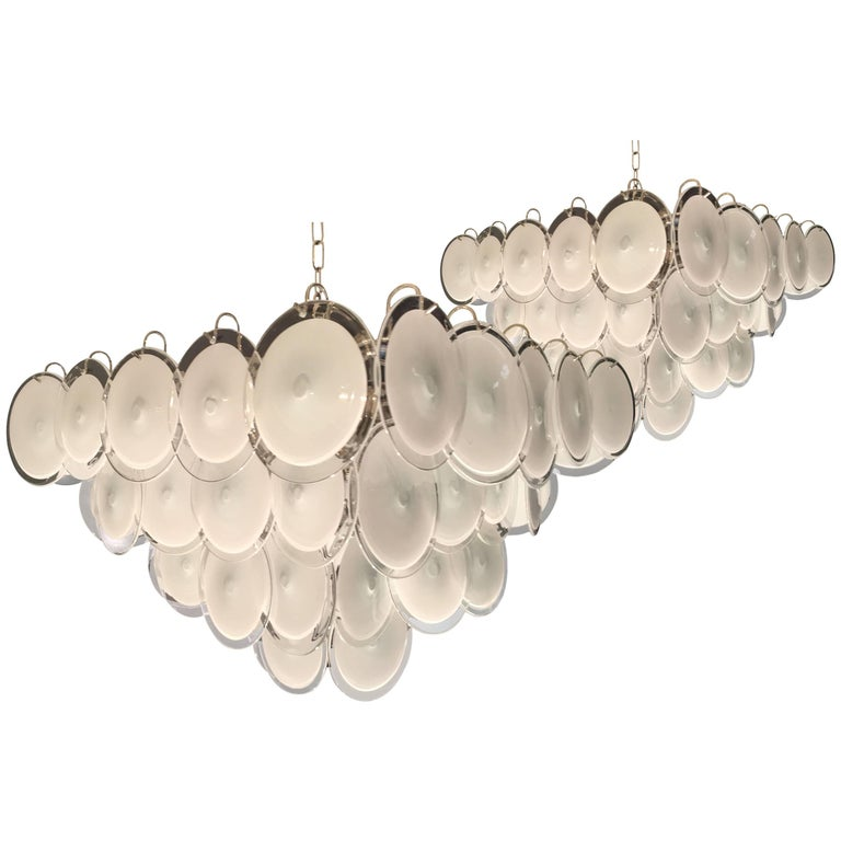 Pair of Modern Vistosi Disc Murano Glass  Chandelier, 1970s