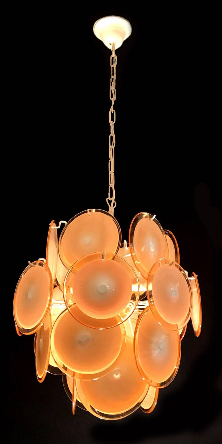 Pair of Vistosi Midcentury Amber Murano Glass Discs Italian Chandeliers, 1970s In Excellent Condition For Sale In Rome, IT