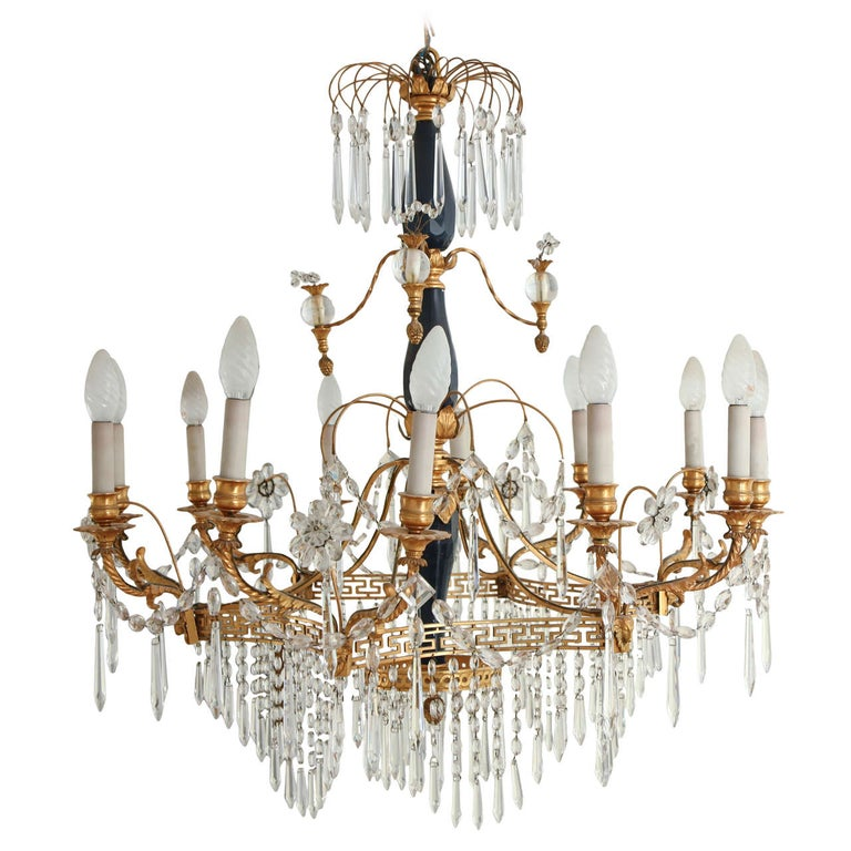 19th Century Neoclassical Baltic Crystal and Gilt Bronze Chandelier