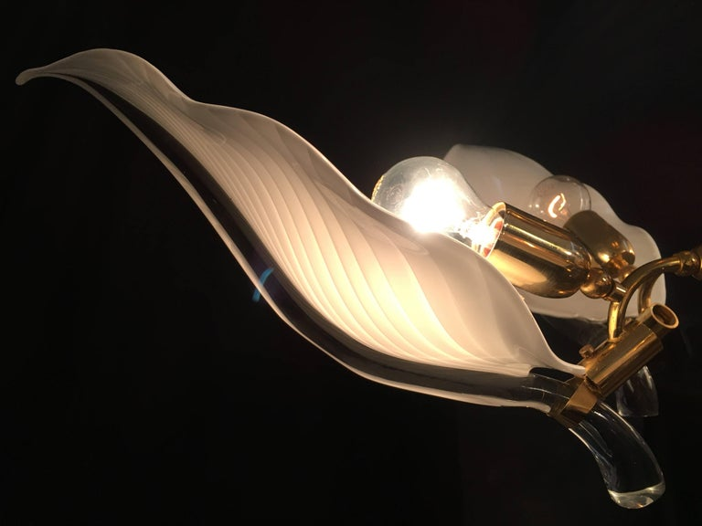 Gold Plate Italian Murano Glass Chandelier by Franco Luce, circa 1970 For Sale