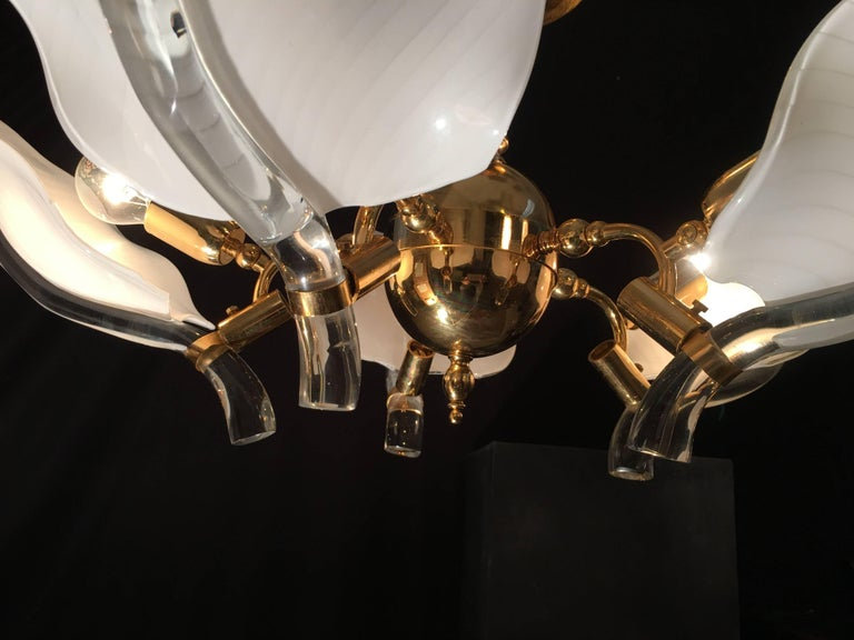 Italian Murano Glass Chandelier by Franco Luce, circa 1970 For Sale 2