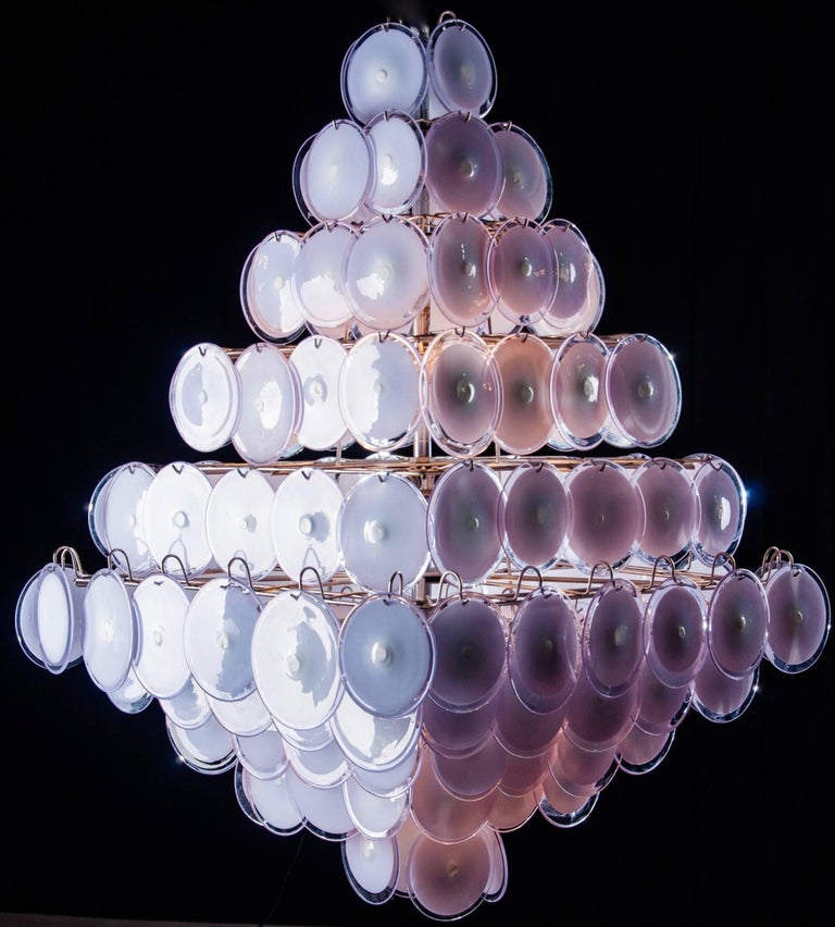 Blown Glass Pair of Pink Murano Glass Disc Chandelier Italian Design by Gino Vistosi, 1970s For Sale