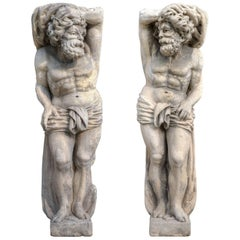 Pair of Italian 17th Century Stone Sculptures of Telamons