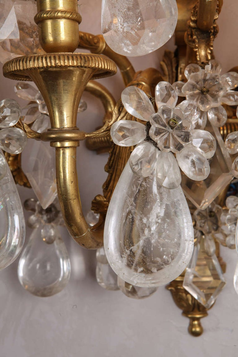 Pair of French Gilt Bronze and Rock Crystal Wall Lights or Sconces Neoclassical For Sale 8