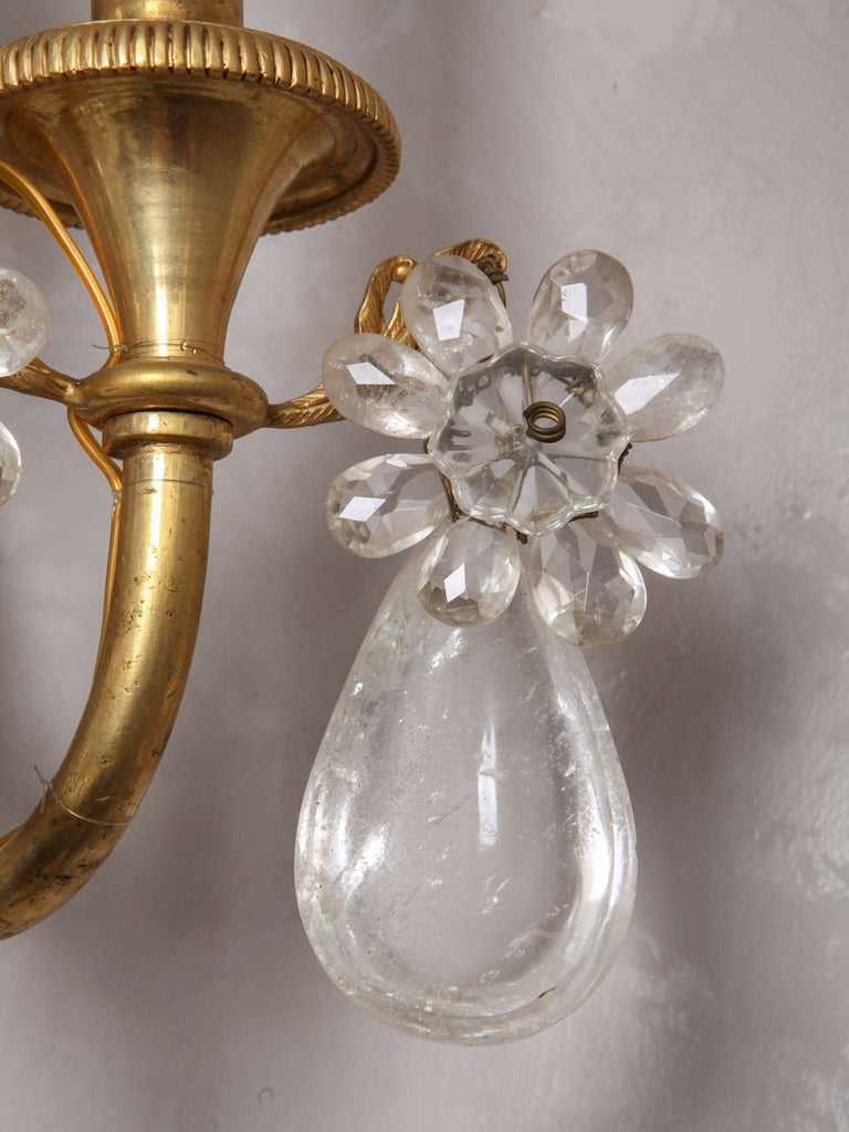 Pair of French Gilt Bronze and Rock Crystal Wall Lights or Sconces Neoclassical For Sale 15