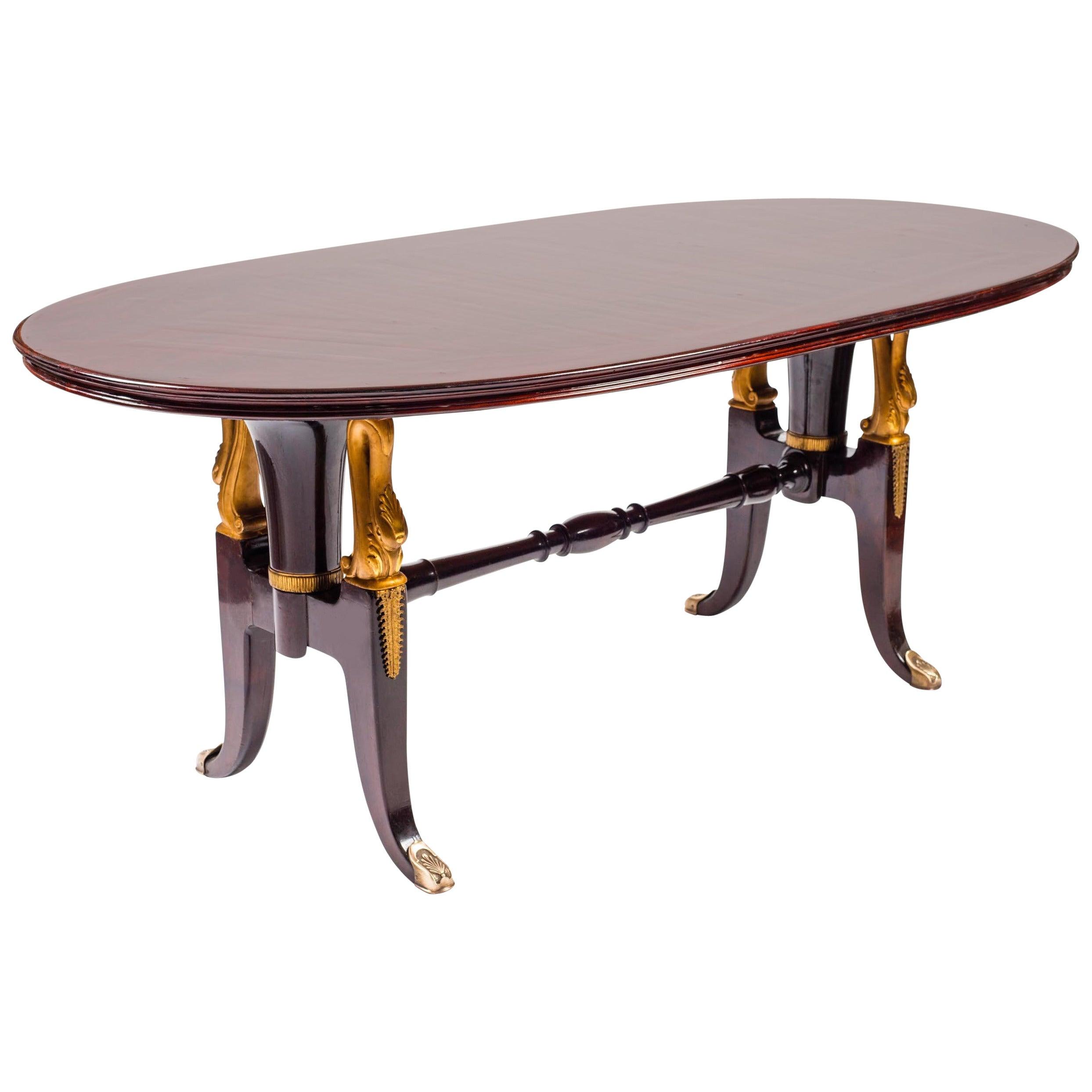 Midcentury Italian Mahogany Table in the Style of Paolo Buffa, 1950s