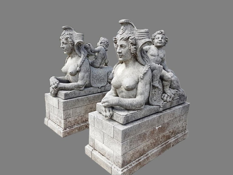 Carved Pair of Exceptional Italian Sphinx Limestone Statues For Sale