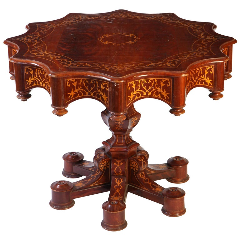 Fine 19th Century Italian Inlaid Center Table, 1840