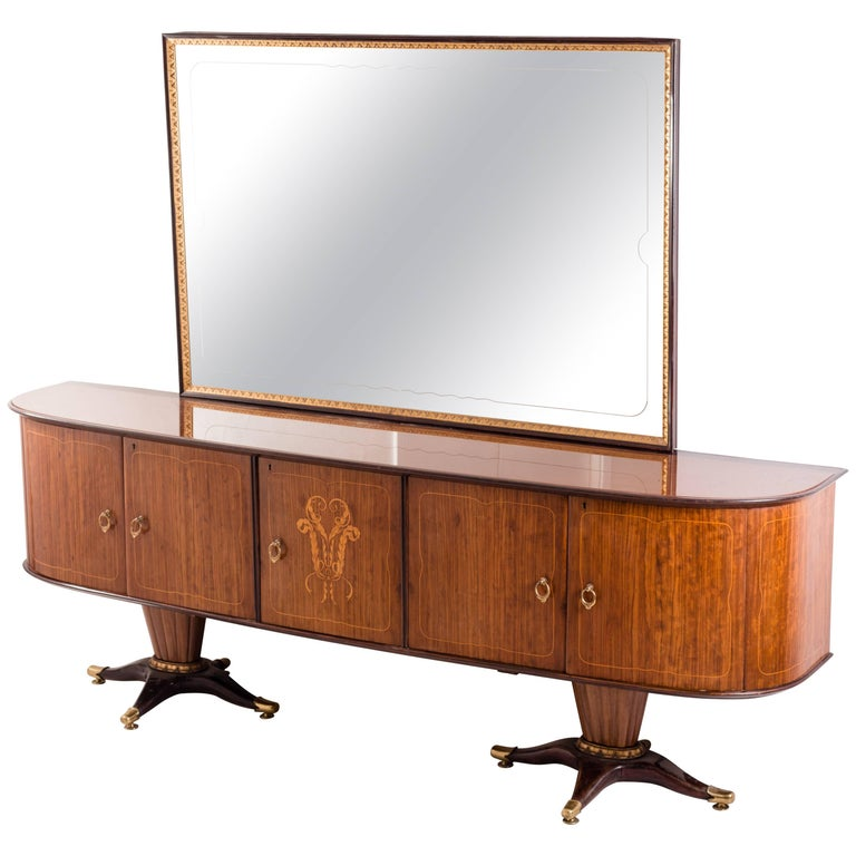 Italian Midcentury Sideboard with Mirror by Paolo Buffa, 1950s For Sale