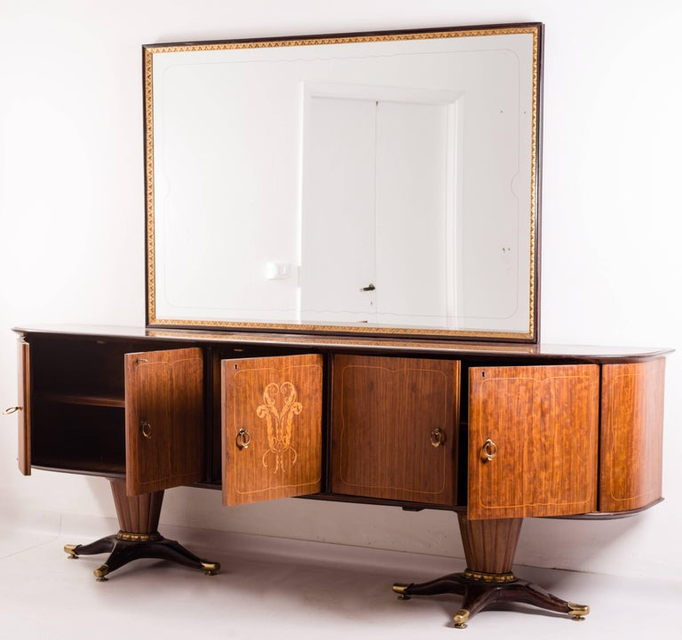 Wood Italian Midcentury Sideboard with Mirror by Paolo Buffa, 1950s For Sale