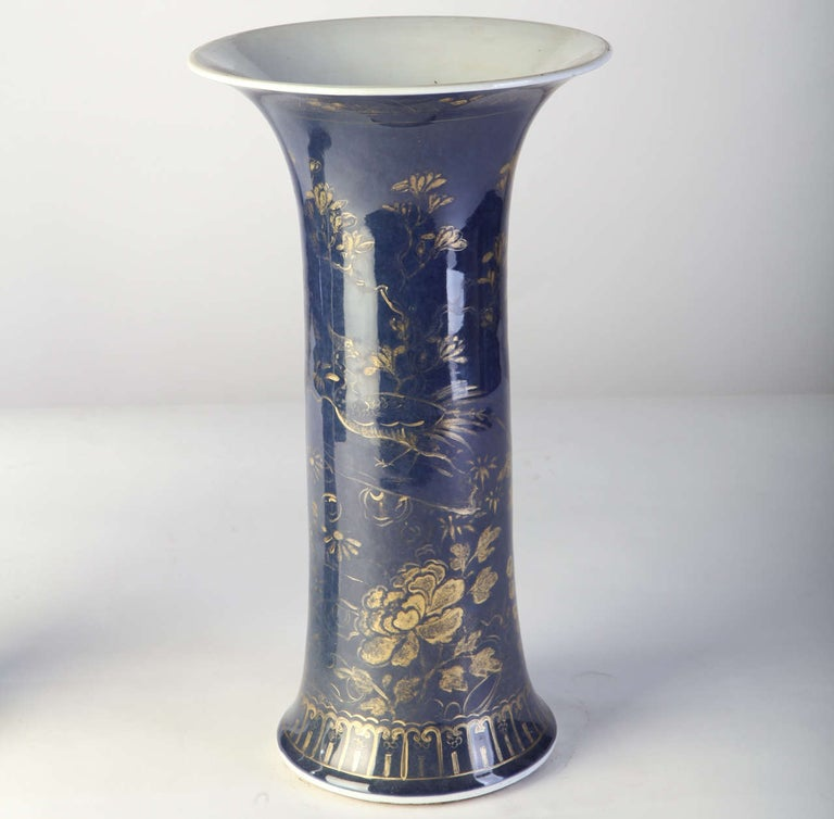 Porcelain Set of Three 18th Century Chinese Powder Blue Gilt-Decorated Vases For Sale