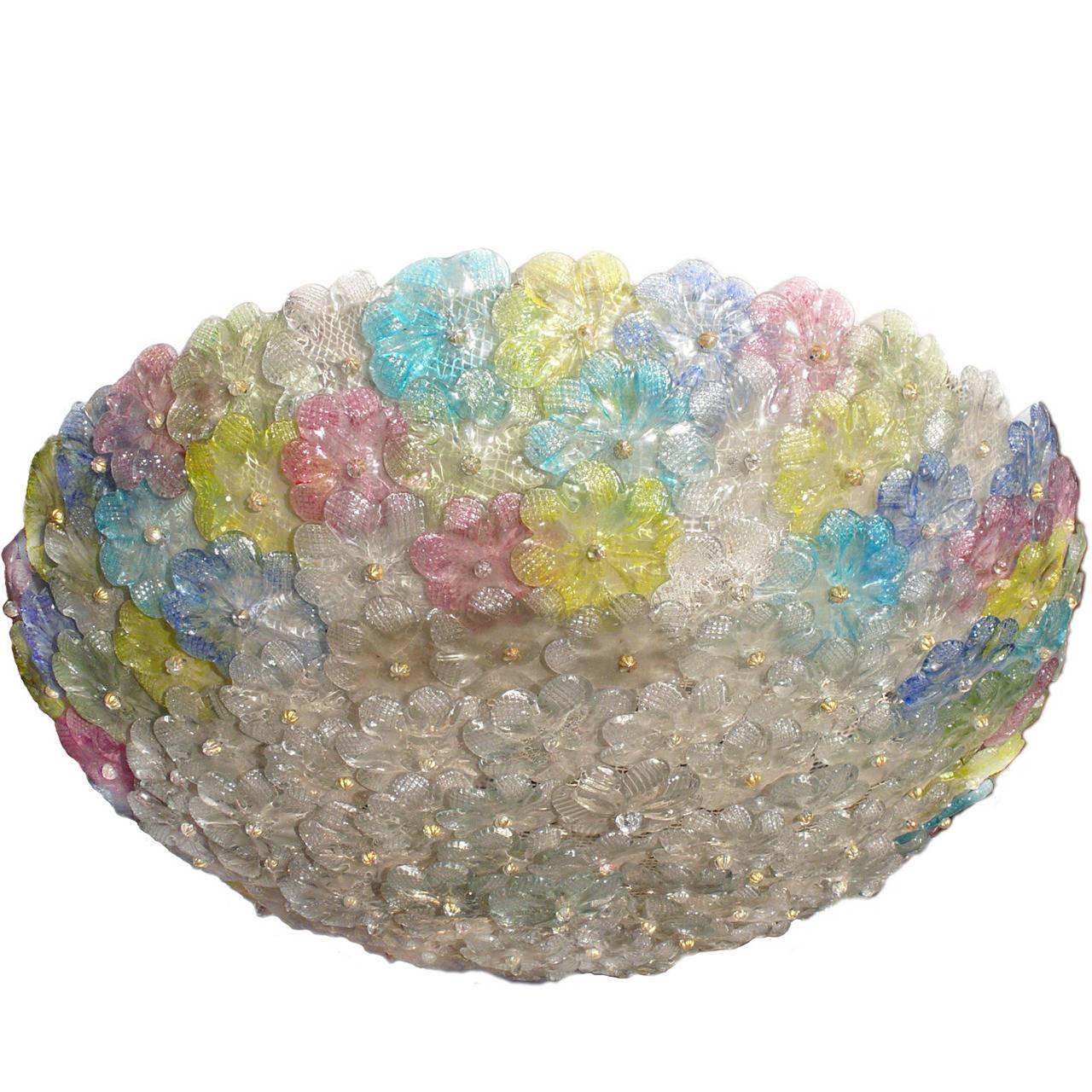 Barovier & Toso Multi-Color Murano Flower Glass Ceiling Light, 1950s