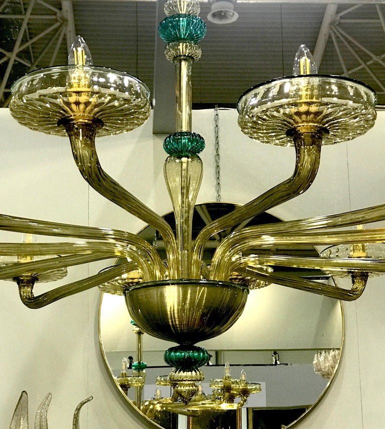 Venini Murano Chandelier Amber and Emerald Handblown Glass, 1960 In Excellent Condition For Sale In Rome, IT