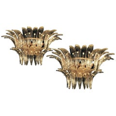 "Pair of Original Sconces of the Famous ""Palmette"" by Barovier & Toso,1960"