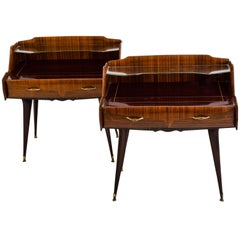 Pair of Italian Mid Century Nightstands in the Style of Paolo Buffa, circa 1950s