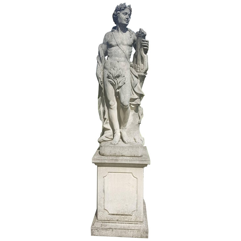 Finely carved mythological subject in Lecce limestone. Excellent condition from an estate of Veneto. Measurements: Statues cm 160, base cm 85.