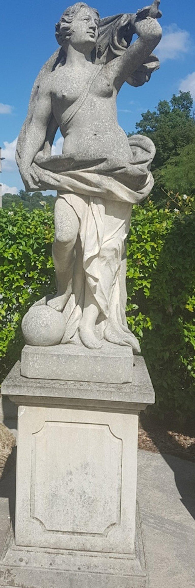 Neoclassical Two Italian Stone Garden Sculptures of Apollo and Roman Goddess For Sale