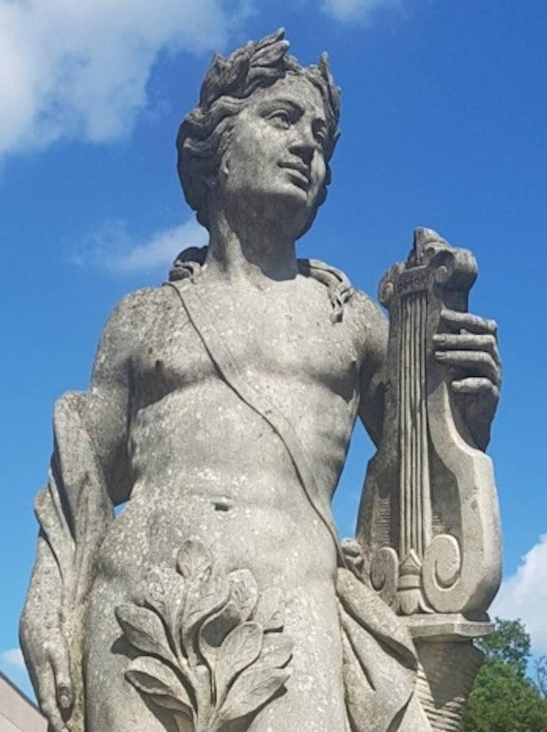 Limestone Two Italian Stone Garden Sculptures of Apollo and Roman Goddess For Sale