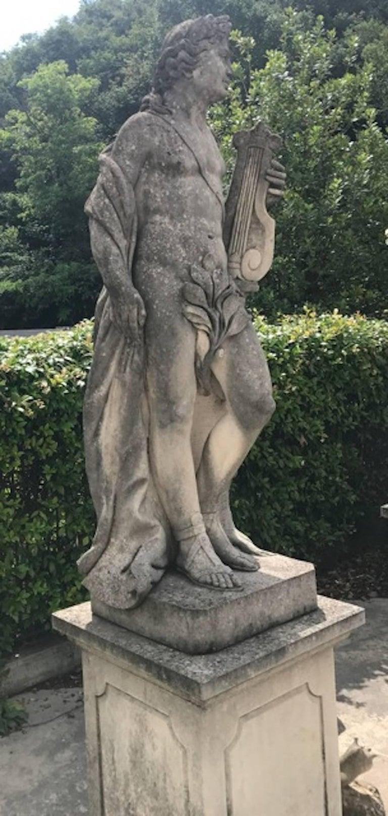Two Italian Stone Garden Sculptures of Apollo and Roman Goddess For Sale 1