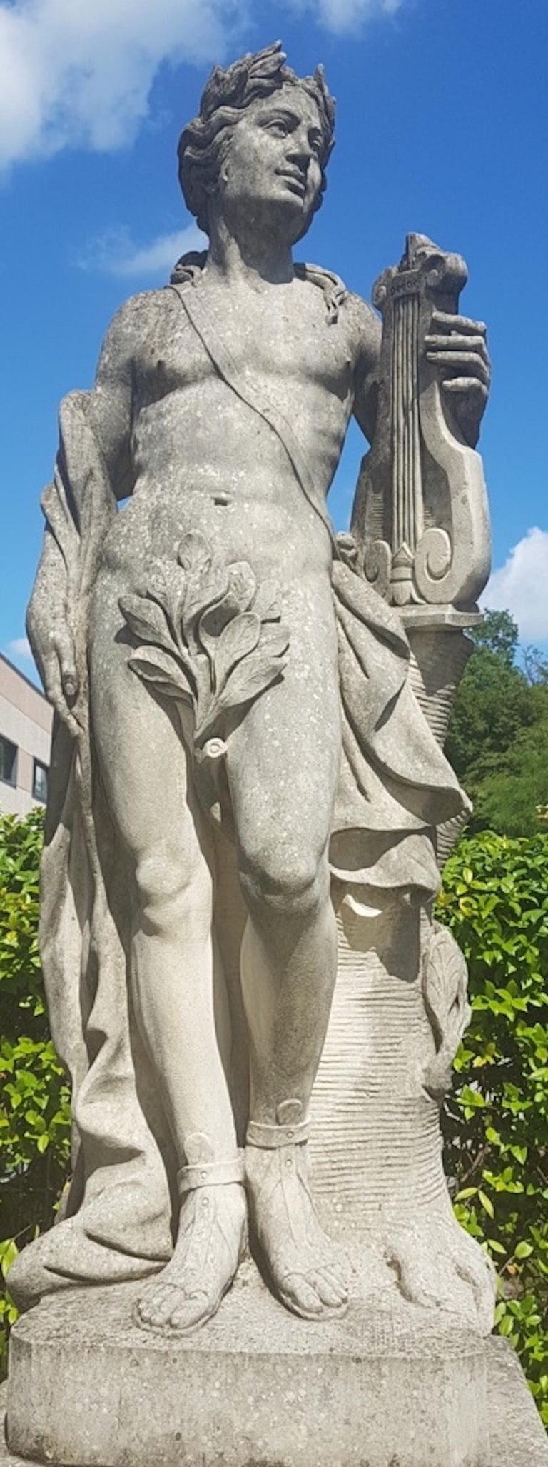 Two Italian Stone Garden Sculptures of Apollo and Roman Goddess For Sale 4