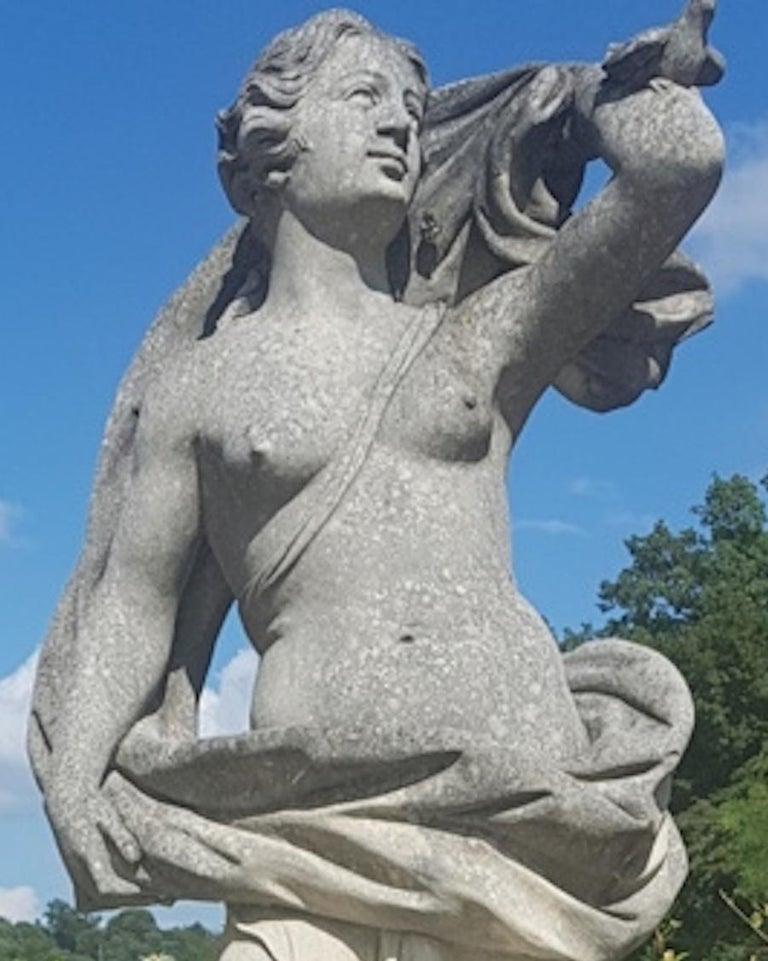 Two Italian Stone Garden Sculptures of Apollo and Roman Goddess For Sale 6