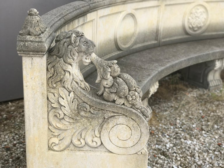 Exceptional craftsmanship with stunning motifs in relief in ' Pietra di Vicenza'. Rich decoration of the armrest with Griffins and garland -  Great decoration for Garden and Patio furniture.