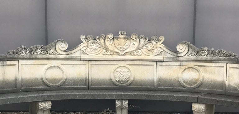 Italian Semi Circular Finely Carved Large Lime Stone Bench Garden Furniture In Excellent Condition For Sale In Rome, IT