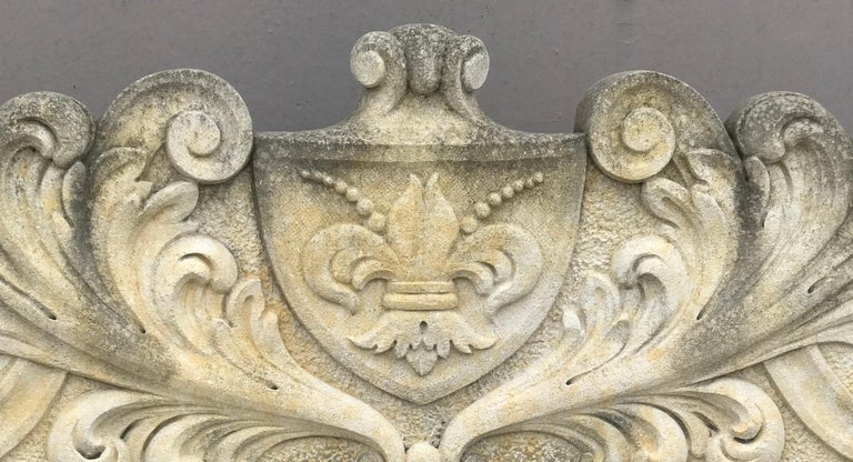 20th Century Italian Semi Circular Finely Carved Large Lime Stone Bench Garden Furniture For Sale