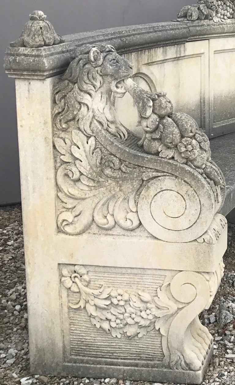 Italian Semi Circular Finely Carved Large Lime Stone Bench Garden Furniture For Sale 1