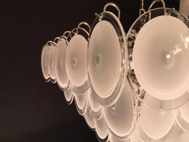 Pair of Modern Vistosi Disc Murano Glass Chandelier, 1970s In Excellent Condition For Sale In Rome, IT