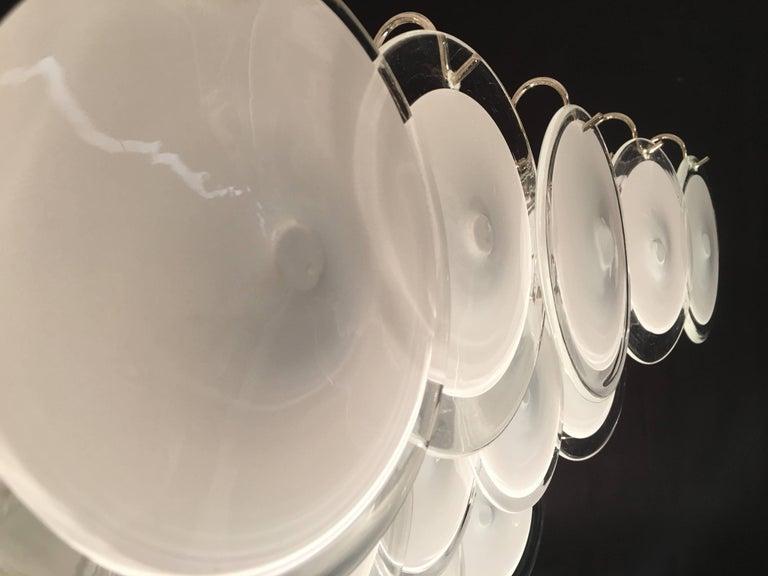 Pair of Modern Vistosi Disc Murano Glass Chandelier, 1970s For Sale 2