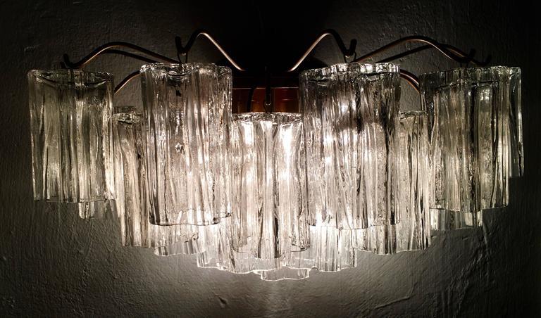 Blown Glass Pair of Venini Tronchi Sconces by Toni Zuccheri, 1970s For Sale