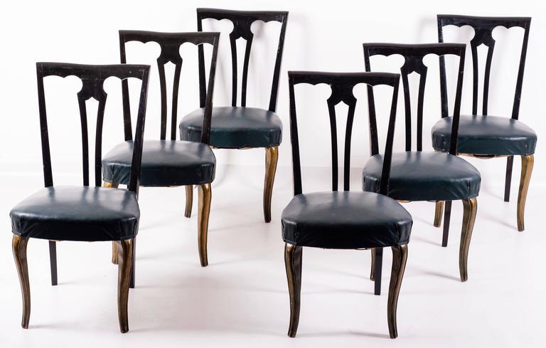Mid-Century Modern Set of Eight Italian Midcentury Painted Dining Room Chairs PierLuigi Colli 1940s For Sale