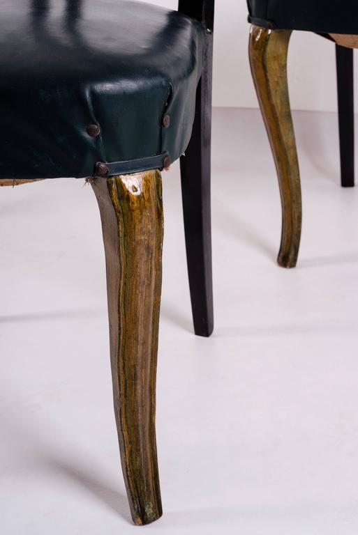 Set of Eight Italian Midcentury Painted Dining Room Chairs PierLuigi Colli 1940s For Sale 1