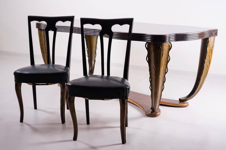 Mid-20th Century Set of Eight Italian Midcentury Painted Dining Room Chairs PierLuigi Colli 1940s For Sale