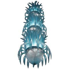 Cyclopean Waterfall Handblown Glass Chandelier by Murano, 1980s