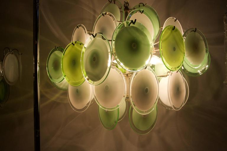 20th Century Murano Disc Chandelier by Vistosi 1970s For Sale