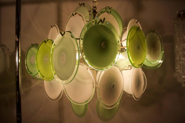 Murano Disc Chandelier by Vistosi 1970s For Sale 3