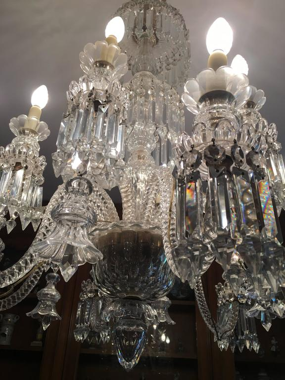 A twelve light crystal chandelier attributed to the french maker baccarat the 12