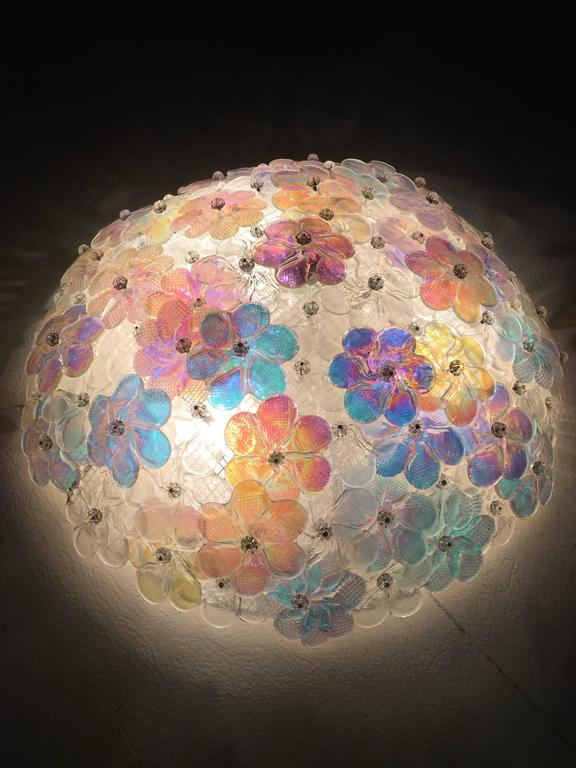 Lovely Murano Glass Floral Flush Mount Ceiling Multi Color