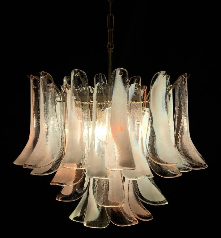20th Century Pair of Beautiful Murano Petals Chandeliers by Mazzega, 1980s For Sale