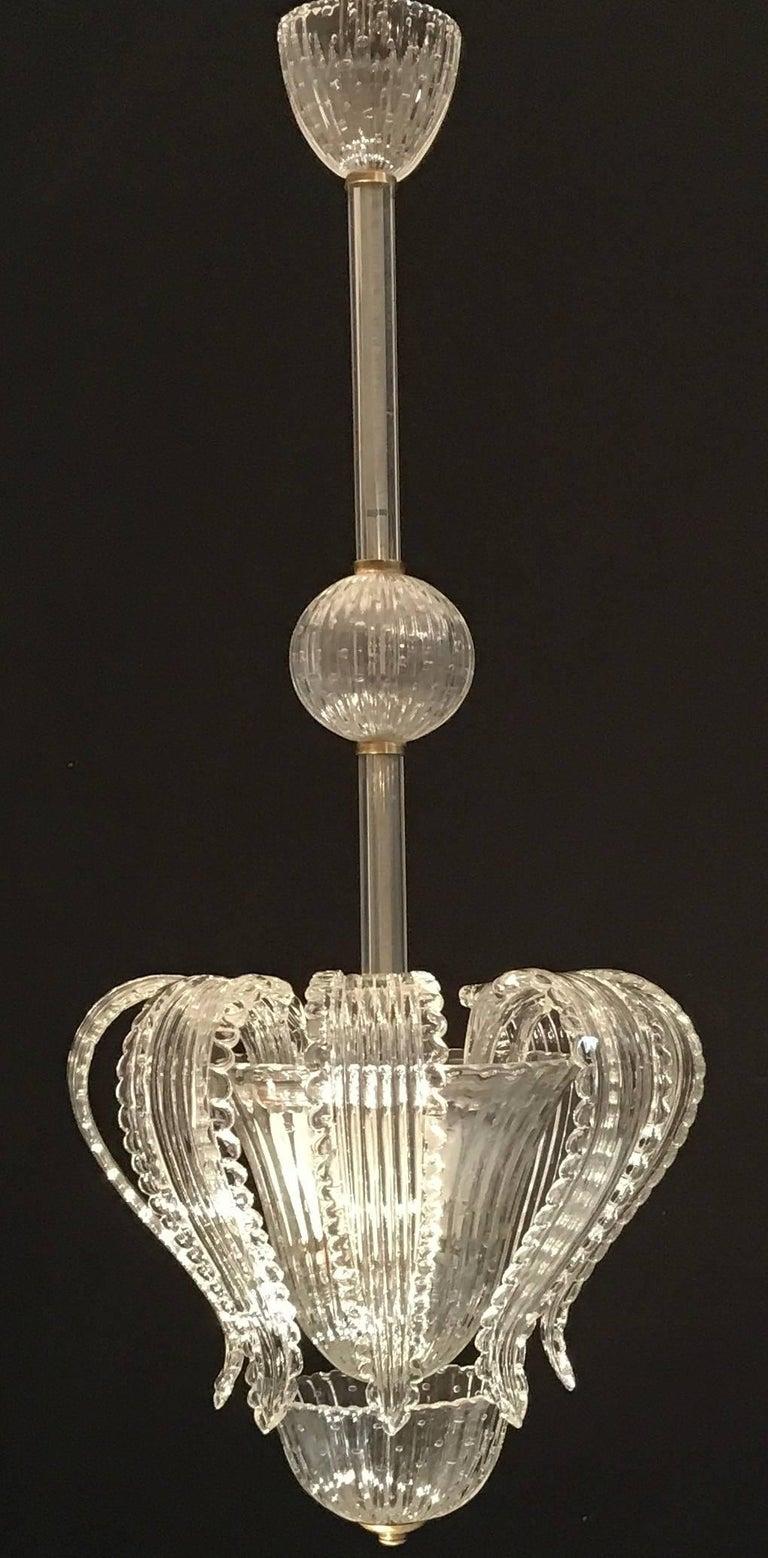 Italian Elegant Barovier Handblown Glass Pendant Lantern, 1930s  For Sale