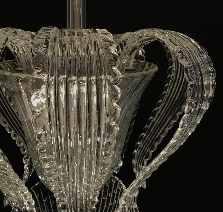 Elegant Barovier Handblown Glass Pendant Lantern, 1930s  In Excellent Condition For Sale In Rome, IT